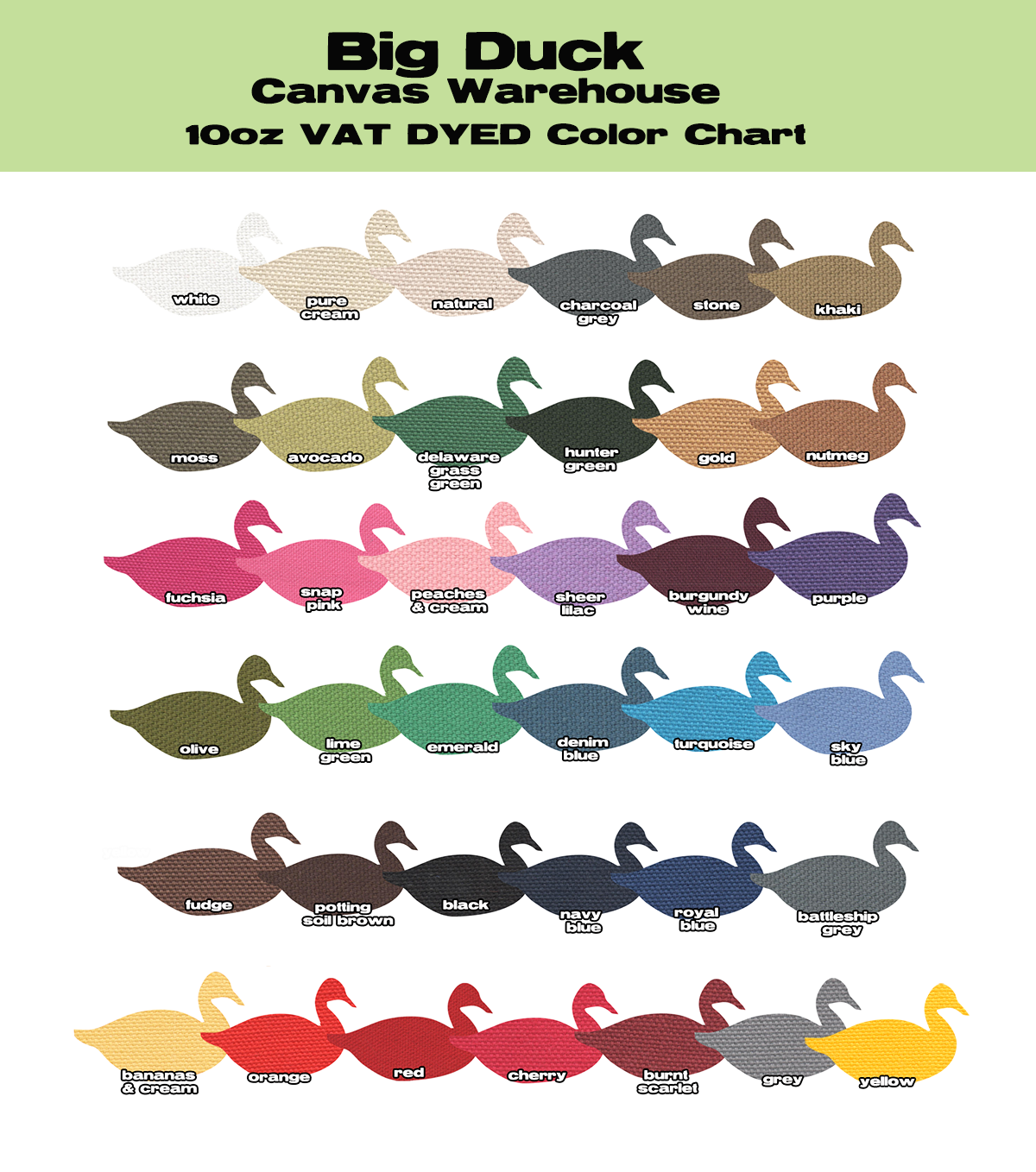 10oz Duck Cloth Color Chart For 2015 Vat Dyed Canvas